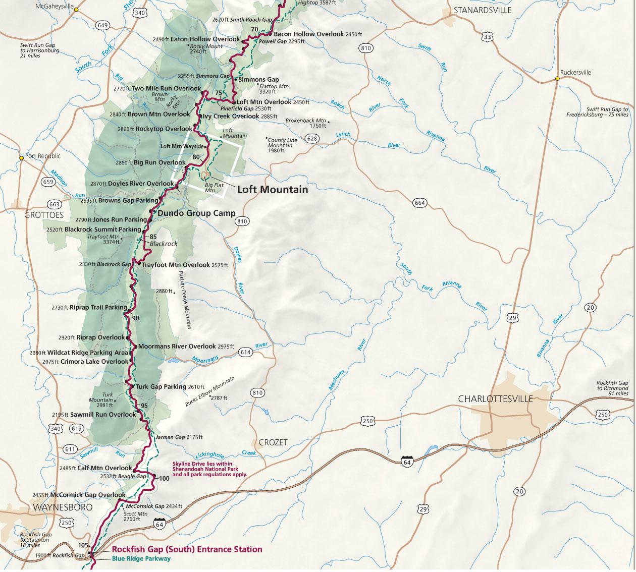 Shenandoah National Park Map Camping Shenandoah National Park