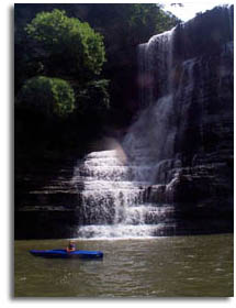 Kayaking under Burgess Falls - Burgess Falls State Park, Tennessee